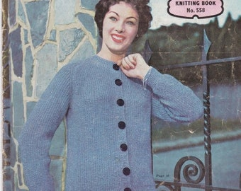 ON SALE On Sale - Paton's Knitting Pattern No 558  For Family Featuring Bouclon Kemtweed  (Vintage 1950s)