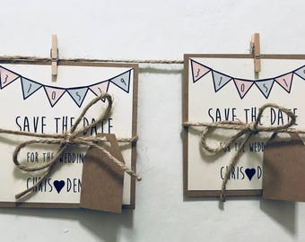 Printed bunting save the date