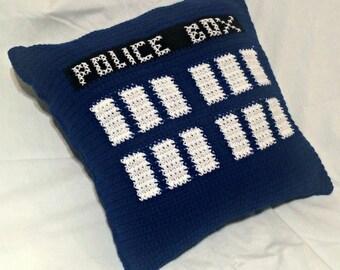 TARDIS Throw Pillow, Doctor Who Pillow, Crochet Pillow, Throw Pillow, Dr Who Home Decor, Police Box Pillow, TARDIS Accent Pillow