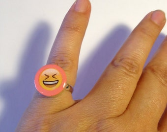 Mood Rings Emoji - pink - Wooden Rings - Cute Rings - laughing Emoji