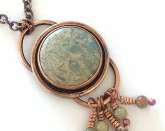 Copper necklace, copper jewelry, blue Jasper necklace, round pendant, statement necklace, Jasper, made in Santa Fe, Mother's Day gift,