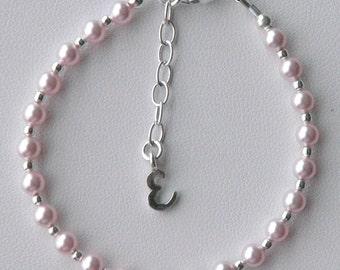 Pale Pink Swarovski Crystal Pearl Initial Children Bracelet, Flower Girl Bracelet, Baptism Bracelet, Confirmation, First Communion Bracelet
