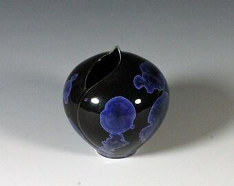 Small Midnight Blue Crystalline Glazed Pod Vase