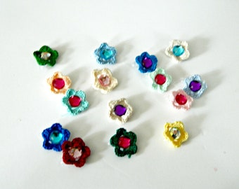 Gemmed Flower Barrette: Crochet 1 inch flower with rhinestone on a plastic barrette (choose flower and gem color) Perfect Stocking Stuffer