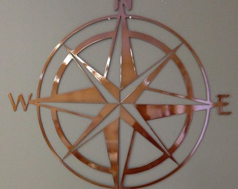 "Nautical Compass Rose Metal Wall Art 24"" Copper Colored"