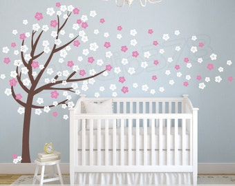 Cherry Blossom Vinyl Wall Art Tree Decal - Flower Tree Wall Decal - Baby Nursery Decals - Childrens - Girls - Vinyl Wall Stickers