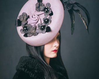 Lavender Wool Percher Hat Headpiece Lavender and Black