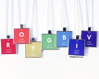 Chemistry Science Jewelry Personalized Periodic Table Necklace Antique Silver Tile Jewelry Primary ROYGBIV