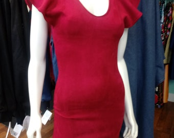 Sueded Knit Body Con Dress in Burgundy with Flutter Sleeves