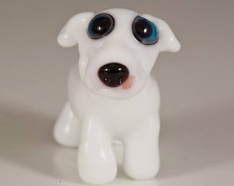 SALE - White Great Dane Lampwork Dog Bead