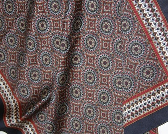 """Navy and Red Paisley Scarf - Vintage - 22 x 22"""" Square"""
