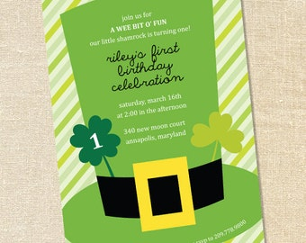 Sweet Wishes St. Patrick's Day Irish Birthday Party Invitations - PRINTED - Digital File Also Available