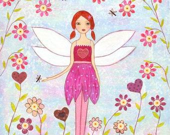 Fairy Painting - Acrylic Fairy Painting - Children Art - Nursery Art - Fairy Wall Art - Wooden Art Block Painting - Mixed Media Painting