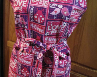 Now Special Price For Ladies Pink Word Art Fun For Valentine Full Apron   Free Shipping