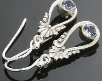 CLEARANCE. Genuine Aquamarine Earrings. Sterling Silver. Scroll Dangle Earrings. March Birthstone. s14e017