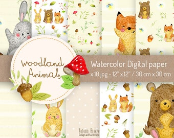 woodland animals digital paper, watercolor animal, bunny, bear, fox, instant download, forest friends, Animal Scrapbook