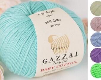 Yarn Gazzal Baby Cotton yarn baby yarn cotton thread cotton string cotton fiber children's yarn crochet cotton natural cotton natural yarn