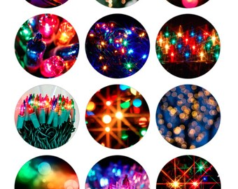 Colorful Lights Printable 1-Inch Circles / Bottlecap Images / Festive Warm Colors / Digital Collage / Happy Holidays / Bright Lights / Bokeh
