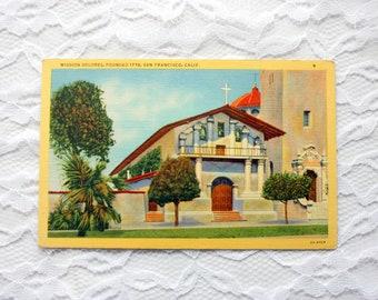 Mission Delores, San Francisco Postcard, Church Postcard,  Linen Postcard California Postcard, Piltz Postcard