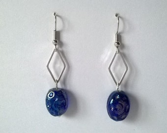 Earrings blue beads & diamond