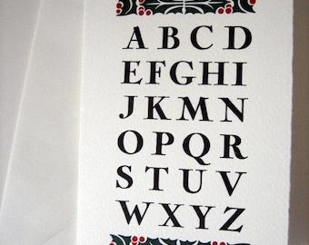 3 Color Letterpress Holiday Cards - packs of 10 w/envelopes