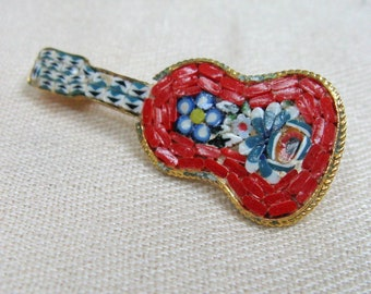 Vintage 1940s 1950s Guitar Brooch 40s 50s Italian Glass Mosaic Brooch Pin