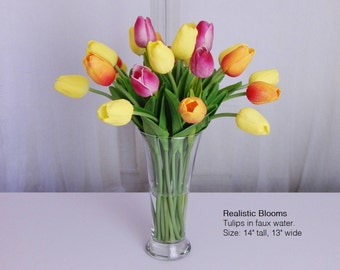 Pink, orange, yellow, tulip/tulips, silk, floral arrangement/centerpiece, faux water, acrylic/illusion, glass vase, Real Touch flowers