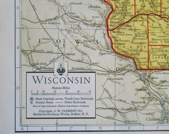 Vintage Map of Wisconsin, 1930s State map, antique atlas map, old maps as wall art, home decor