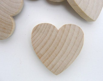 "50 Wooden hearts 1 1/2 inch (1.5"") wide 1/4 inch thick unfinished wood hearts diy"