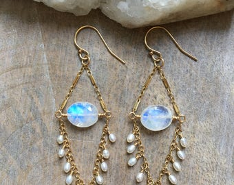 RESERVED, Rainbow Moonstone Chandelier Earrings, Moonstone and Pearl Dangle Earrings, Gold Gemstone Earrings, Boho Luxe