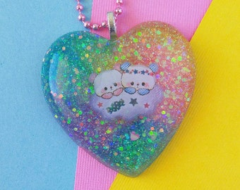 Resin Panda Rainbow Heart Pendant, Kawaii Glitter Resin Jewelry, Fairy Kei Resin Necklace Jewelry Gift for Girlfriend, Nerdy Girl Fairy Kei