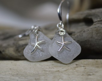 Genuine Sea Glass earrings - genuine Sea Glass -Sterling silver -Beach Glass -Jewelry -surf tumbled -handcrafted