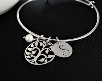 Tree of life Bracelet Silver Personalized Jewelry Mother of the bride gift Tree of life bangle bracelet gift for mom
