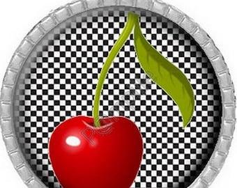 Cabochon pendant - Red cherry (732)
