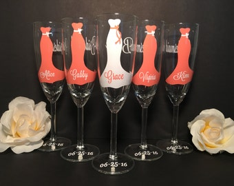Personalized bridesmaid glasses, bridesmaid proposal, Maid of honor, Will you be,personalized wedding glasses, wedding glasses, Bridesmaid