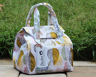 Reusable, Insulated  bento box Lunch Bag, BPA Free, Food Friendly, New waterproof lining, golden leaves, work lunch, school lunch, washable
