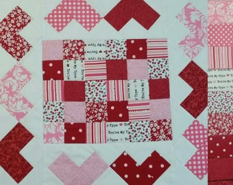 """KIT: Quilted Hearts """"Mini"""" Table Runner"""