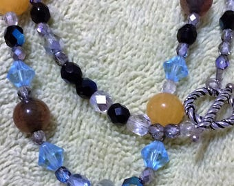 colorful beaded necklace with pendant