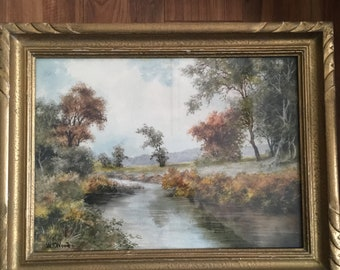 Beautiful vintage  landscape painting by W.T. Wood (1877 - 1958).