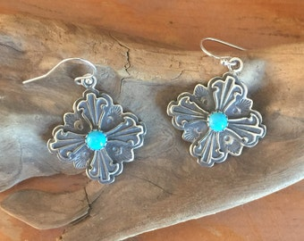 E304T The Truchas Cross Turquoise Sterling Silver Southwestern Native Style Earrings