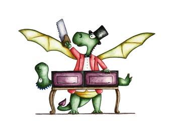 Watercolour Magic Dragon-2 Art Print