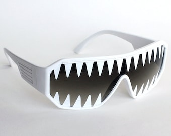 Rasslor Mini Shark Teeth on White Shield Sunglasses