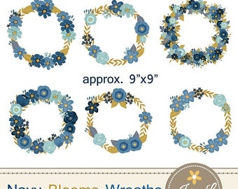 50% OFF Navy Blue Flower Wreath Clipart, Wedding Flowers, Navy Blue Flower Wreath, Floral Arrangement for digital Scrapbooking, Wedding,