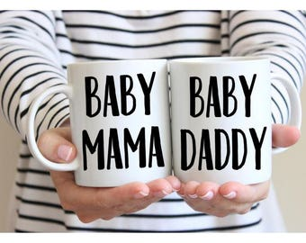 Baby Mama and Baby Daddy Mug Set, Dad to be gift, Mom to be Gift, Pregnancy Announcement, New Dad Gift, New Mom Gift - 2 Sizes Available