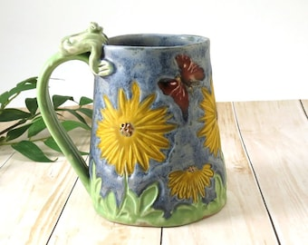 Ceramic Coffee Mug Handmade Tankard Beer Stein Large Blue Pottery Cup Coffee Cup Big Tea Mug Sunflower Frog Mug 18 oz Mother's Day Gift, 739