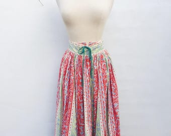 Vintage 50s cotton novelty skirt - 1950s Nelly de Grab swing dance pleated full knee length skirt - small