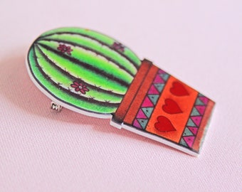 Broche cactus mexico mediteraans badge tattoo flash art pinup rockabilly rockabella style 50s krimp plastic tatoeage geinspireerd