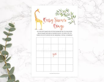 Baby Shower Bingo, Giraffe Baby Shower Game, Safari Baby Shower Game, Jungle Baby Shower Printable Digital, Giraffe Games, INSTANT DOWNLOAD
