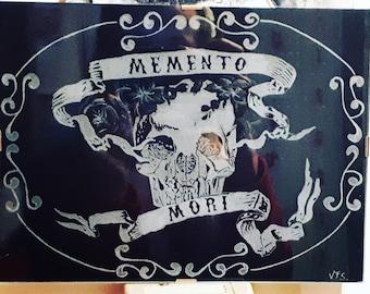Memento Mori skull Engraving si Glass
