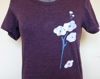 Womens Tshirt for Nature Lover-Yellow Flower, Flowers on Heather Plum in sizes S to XL